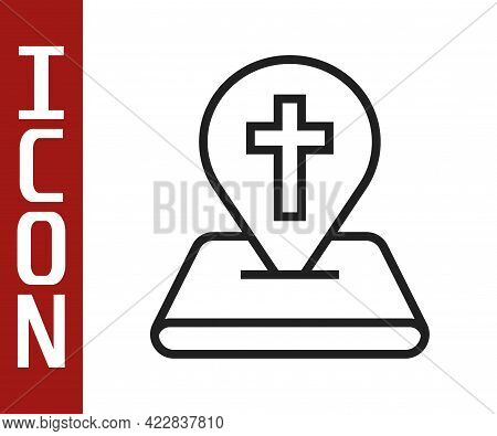 Black Line Map Pin Church Building Icon Isolated On White Background. Christian Church. Religion Of