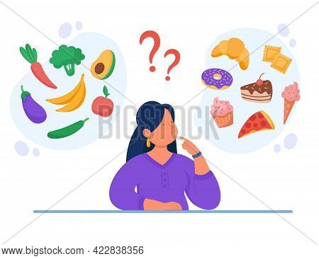 Healthy Vs Unhealthy Food Vector Flat Illustration. Woman Thinking Over Junk Food And Organic Snack.