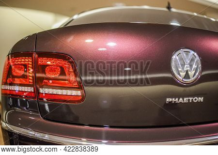 Germany. Dresden - August 2015: Taillight, Taillights, Volkswagen Phaeton. Volkswagen Logo. Glaesern