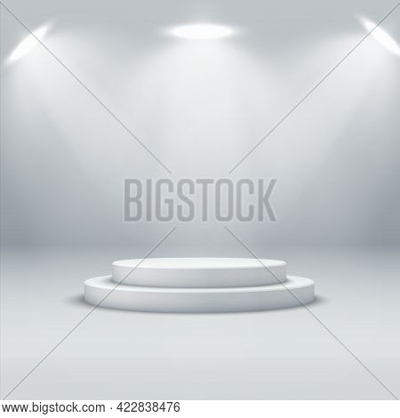Abstract Podium Background. A Realistic, Bright Interior With A Round Podium And Spotlights.