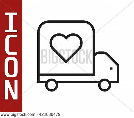 Black Line Delivery Truck With Heart Icon Isolated On White Background. Love Delivery Truck. Love Tr