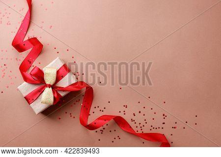 Christmas Gifts, Presents, Ornaments On Beige Holiday Background. Black Friday Luxury Stylish Greeti