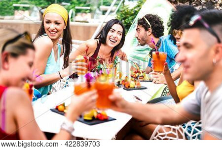 Happy Friends Drinking Cocktails At Pool Party - Young People Having Fun In Luxury Resort Restaurant