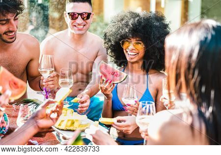 Happy Friends Group Drinking White Wine Champagne At Pool Side Party - Life Style Vacation Concept W