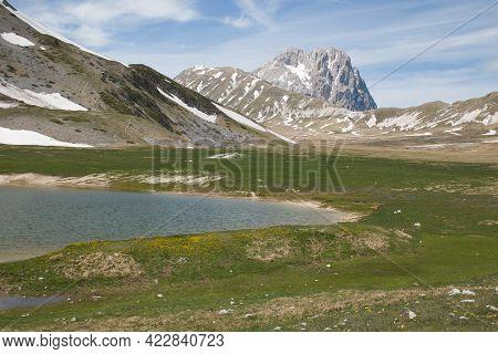 Panoramic View Of Pietranzoni Lake With Gran Sasso Massif In The Background, Abruzzo