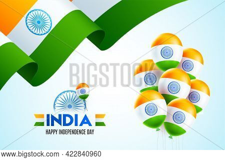 15th Of August Independence Day Of India With Wavy Flag Design And Belloons On Sky Blue Background