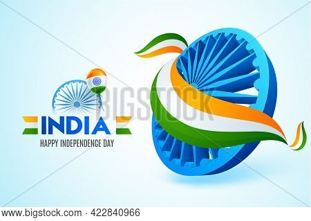 Ashoka Wheel Covered With National Tricolor Ribbon For 15 August, Happy Indian Independence Day Cele