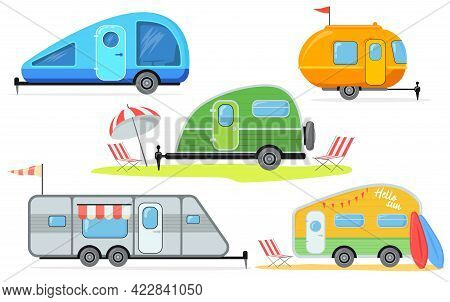 Different Trailers For Camping Vector Illustrations Set. Collection Of Caravans Or Camper Vans At Ca