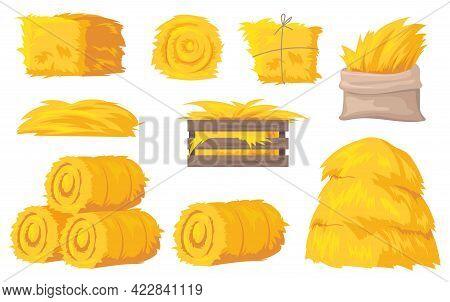 Bales And Stacks Of Hay Vector Illustrations Set. Flat Yellow Haystacks, Round Bales Of Wheat Straw