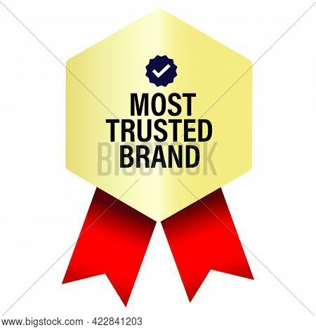 Most Trusted Brand Vector Icon, Golden Elegant Badge With Red Ribbons