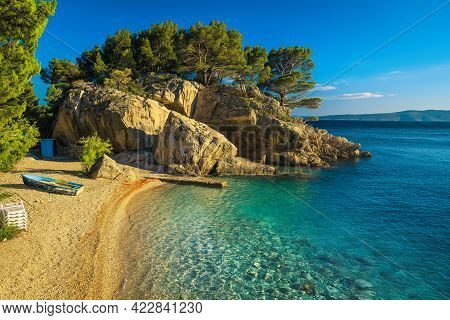 Stunning Landscape With Clean Sea And Pine Trees On The Cliffs. One Of The Best Visited Beach In Dal