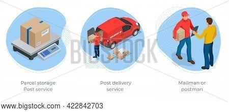 Isometric Concept Of Parcel Storage , Post Delivery Service And Post Service. Post Office Parcels An