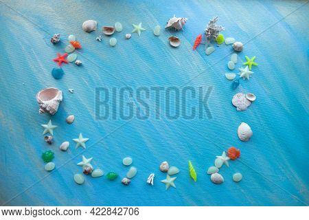 Seashells Summer Background. Rectangular Frame. Many Different Seashells, Starfish On A Background O