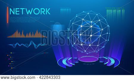 Technology Sphere, Cloud Network. Abstract Technology Science Background. Sphere Shield Protect. Glo