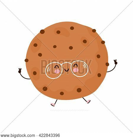 Cute Funny Cookie Character. Vector Hand Drawn Cartoon Kawaii Character Illustration Icon. Isolated