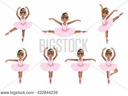 Set Of Cute Little Ballerina In A Pink Tutu And Pointe Shoes. Beautiful Black Girl Dancing Ballet. V