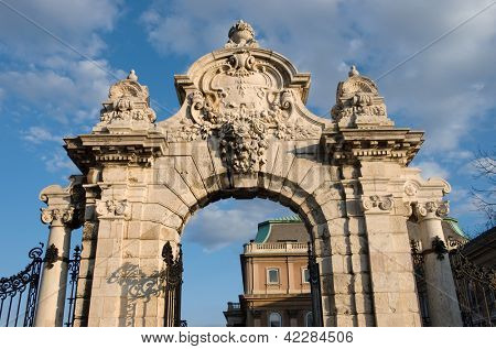 Budapest, ornate arched gateway to the Buda Castle Or Royal Palace