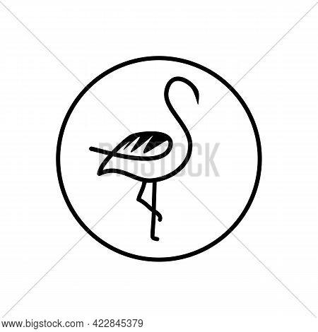 Illustration Vector Design Graphic Of Flamingo Logo Line Art