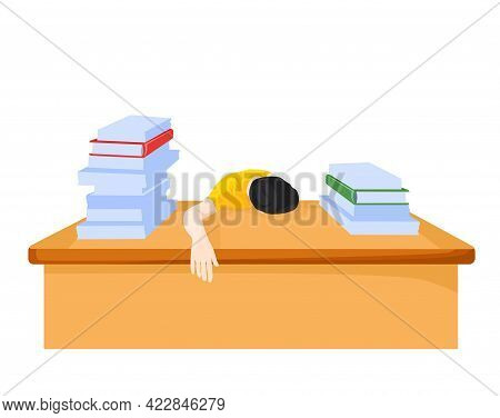 Man At The Desk Busy With Work Vector Stock Illustration. A Lot Of Paperwork At Work. Overtime. A Sc