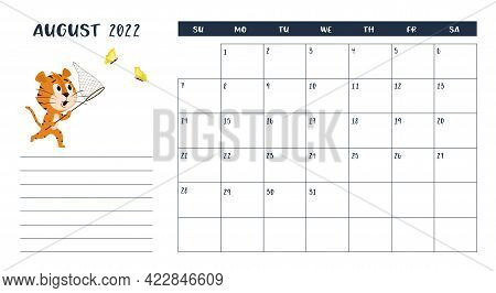 Horizontal Desktop Calendar Page Template For August 2022 With A Cartoon Tiger Symbol Of The Chinese