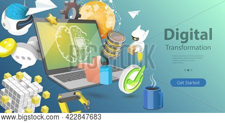 3d Isometric Flat Vector Conceptual Illustration Of Digital Transformation Of Business, Data Analysi