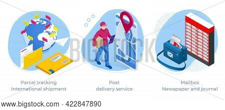 Isometric Concept Of Parcel Tracking International Shipment, Post Delivery Service And Mailbox, News