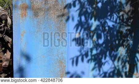 Focus To Grunge Rusty Wall And Defocused Shadows Of Tree Branches And Leaves On Grunge Wall. Shadow