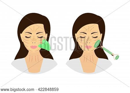 A Woman With A Jade Face Roller And A Gua-sha Stone Scraper. Facial Yoga. Anti-aging Self-help Metho