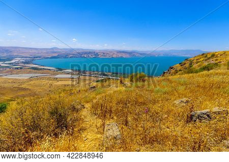 View From The Golan Heights On The Southern Part Of The Sea Of Galilee. Northern Israel