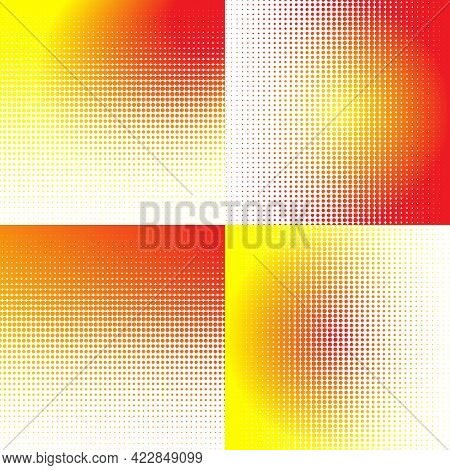 Set Of Halftone Dots Backgrounds. Abstract Comic Backdrop With Gradient In Yellow And Red Colors . P