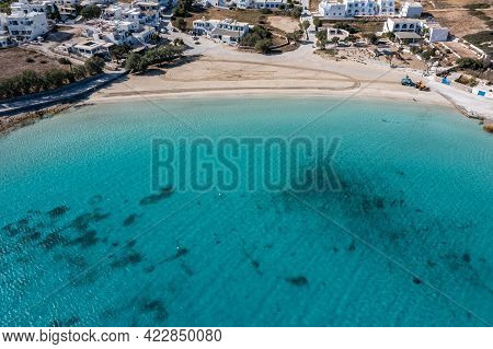 Greece, Pano Koufonisi Small Cyclades Island Sandy Beach Aerial Drone View