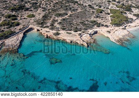 Greece, Koufonisi Island, Sandy Beach, Aerial Drone View