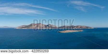 Greece, Lesser Cyclades Islands, Aerial Drone Panoramic View