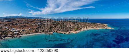 Greece, Koufonisi Island, Sandy Beaches, Aerial Drone Panorama