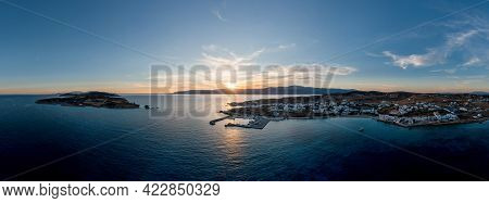 Greece, Small Cyclades Islands, Koufonisia Aerial Drone Panoramic View Of Koufonisi At Sunset