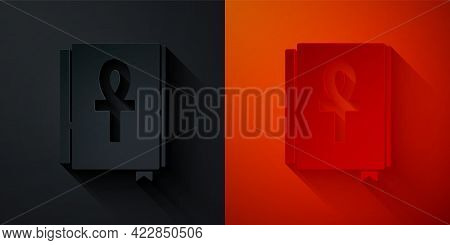 Paper Cut Cross Ankh Book Icon Isolated On Black And Red Background. Paper Art Style. Vector