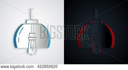 Paper Cut Chandelier Icon Isolated On Grey And Black Background. Paper Art Style. Vector