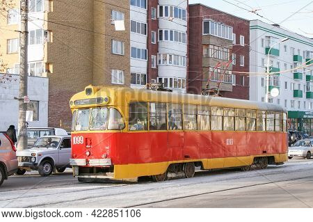 Ufa, Russia - February 18, 2008: Old City Tramway Rvz 6m2 In The City Street.