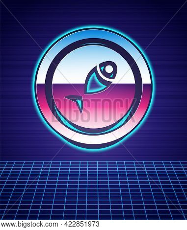 Retro Style Served Fish On A Plate Icon Isolated Futuristic Landscape Background. 80s Fashion Party.
