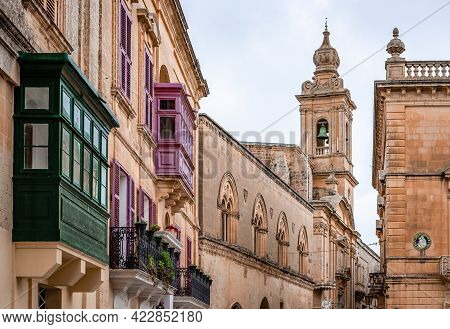 Palazzo Santa Sofia And Other Medieval Buildings In Villegaignon Street, Round Saint Paul's Square,