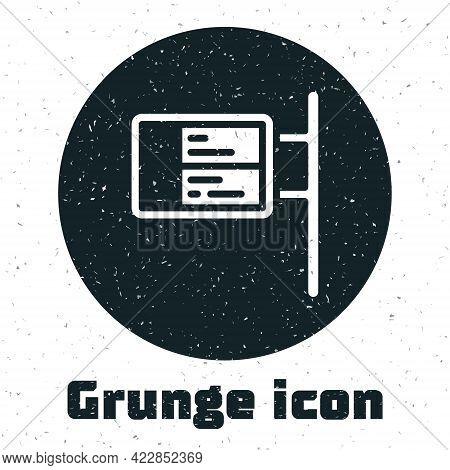 Grunge Public Transport Board Icon Isolated On White Background. Mechanical Scoreboard. Info Of Flig