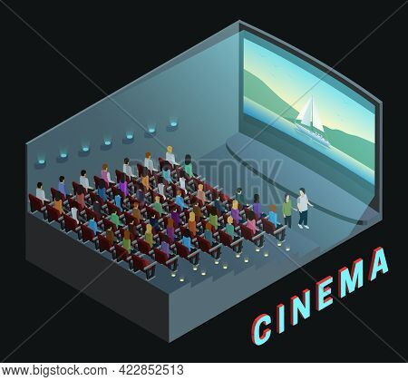 Cinema Movie Theater Indoor Auditorium Isometric View Poster With  Watching Action Film Audience Abs