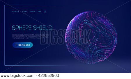 Sphere Shield Protect In Abstract Style. Virus Protection Bubble. Sphere Lines Technology Background