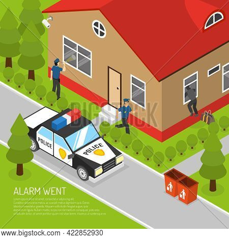 Action Security System Burglar Alarm Response Isometric Placard With Running Police Officer Approach