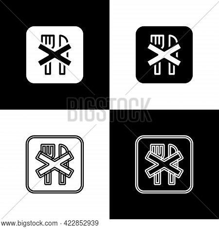 Set Ramadan Fasting Icon Isolated On Black And White Background. Religious Fasting. Vector