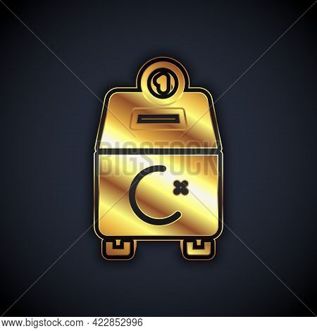 Gold Donate Or Pay Your Zakat As Muslim Obligatory Icon Isolated On Black Background. Muslim Charity