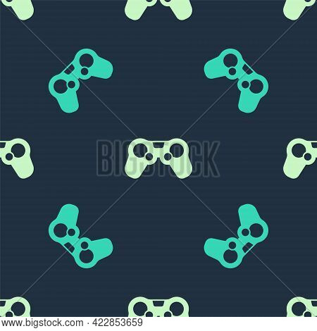 Green And Beige Gamepad Icon Isolated Seamless Pattern On Blue Background. Game Controller. Vector