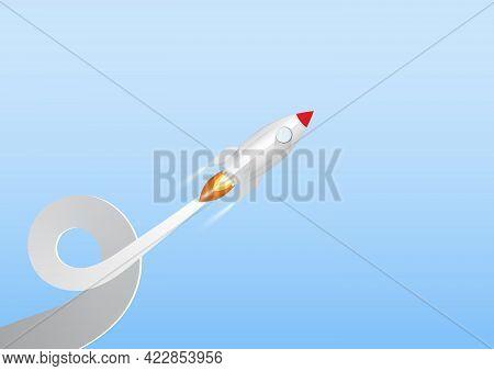 Rocket Launch, Business Start Up Concept Paper Art Vector Illustration