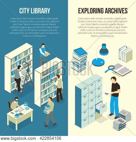 Public City Library And Academic Scientific Research Documents Archive 2 Vertical Isometric Banners