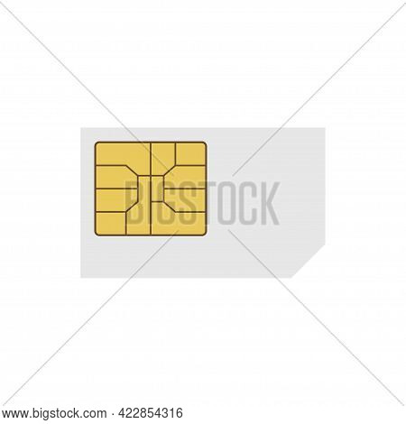 Sim Card Vector Mobile Phone Icon Chip. Sim Card Icon Symbol Vector Illustration Isolated On White B